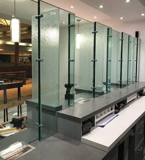 kiosk currency exchange glass installation protection bulletproof counter glass permanent