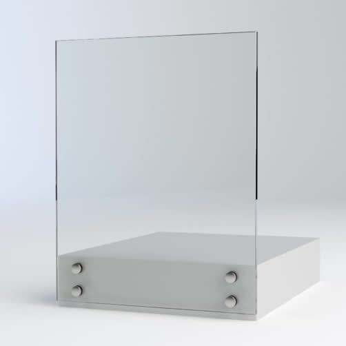 glass mounted divider separate clients and counter staff